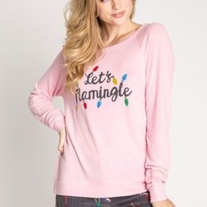 NEW PJ SALVAGE Let's Flamingle Pink Graphic Top M
